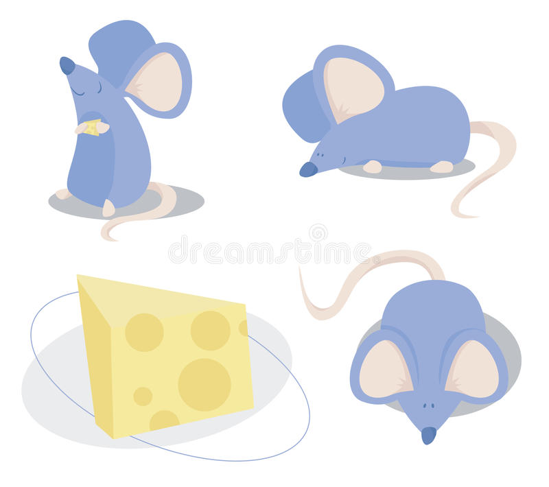 Three Blue Mice. Vector, editable. Three blue cartoon-like mice and cheese stock illustration