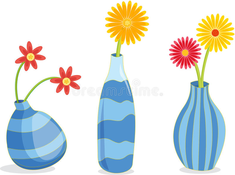Three Blue Vases. A row of three blue vases containing flowers vector illustration