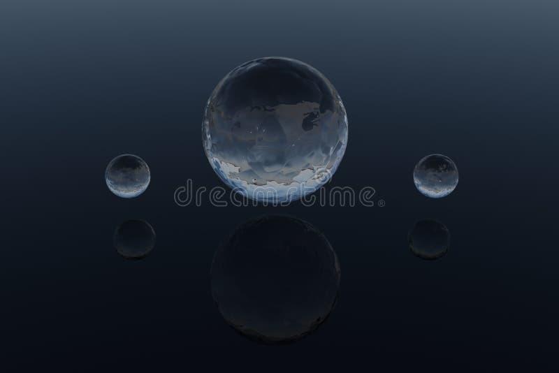 Three blue water spheres - 3d model. 3d model of three blue water spheres with reflections on blue background royalty free illustration