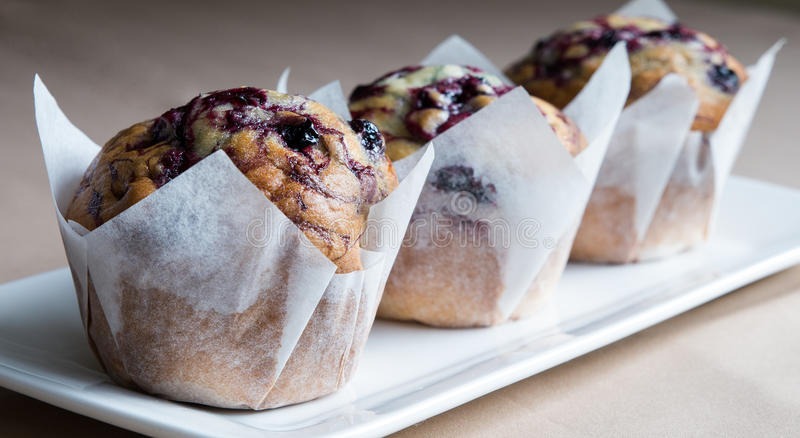 Three Blueberry Muffins With Paper Wrappers. royalty free stock images