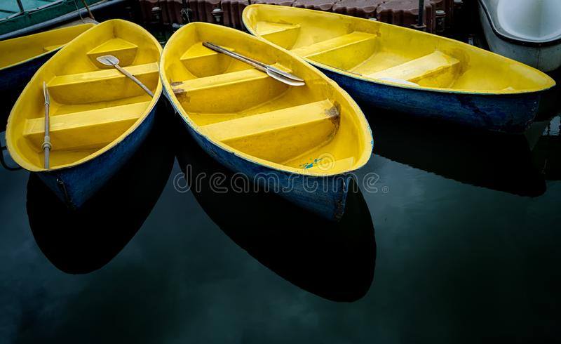 Three boat in Suan Luang Rama IX royalty free stock images