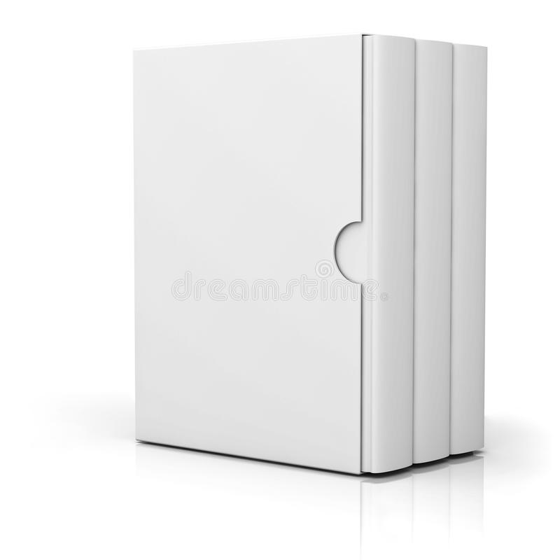 Three books with blank box cover standing on white stock illustration