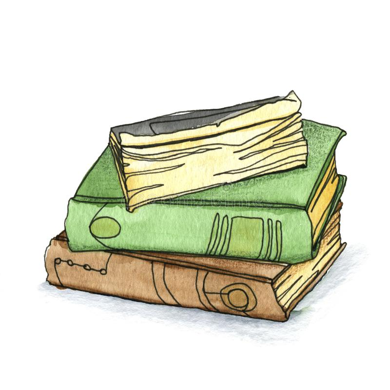 Three books are a stack royalty free stock photo