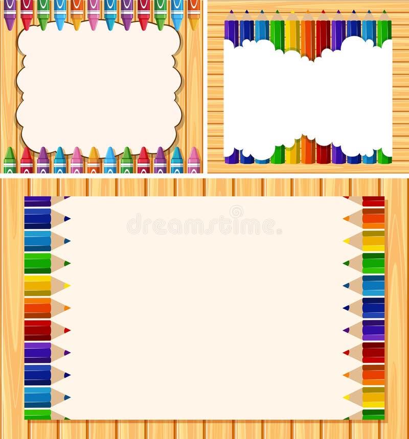 Three border templates with color pencils. Illustration royalty free illustration