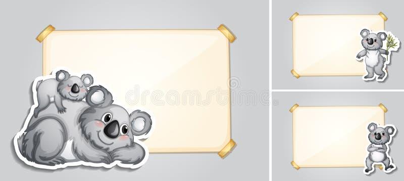Three border templates with koala bears royalty free illustration