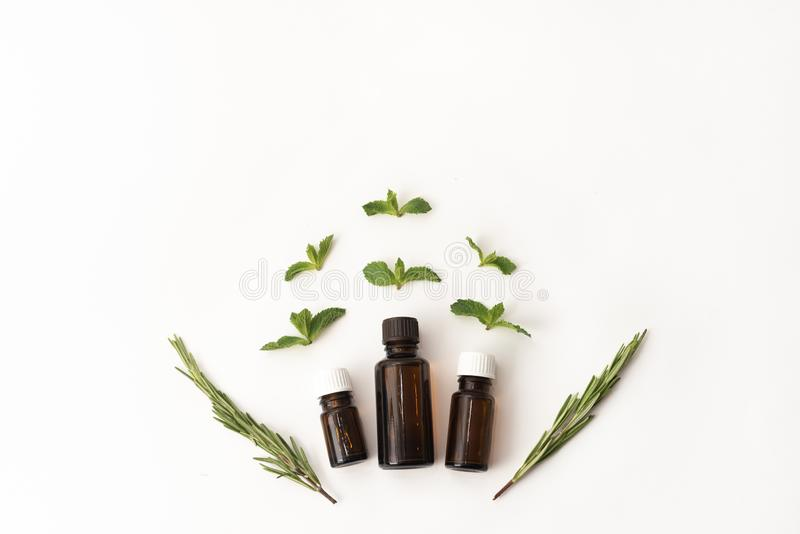 Three bottles of essential oil surounded with fresh herbal green mint leaves and rosemary. flat lay on white background. Medical royalty free stock image