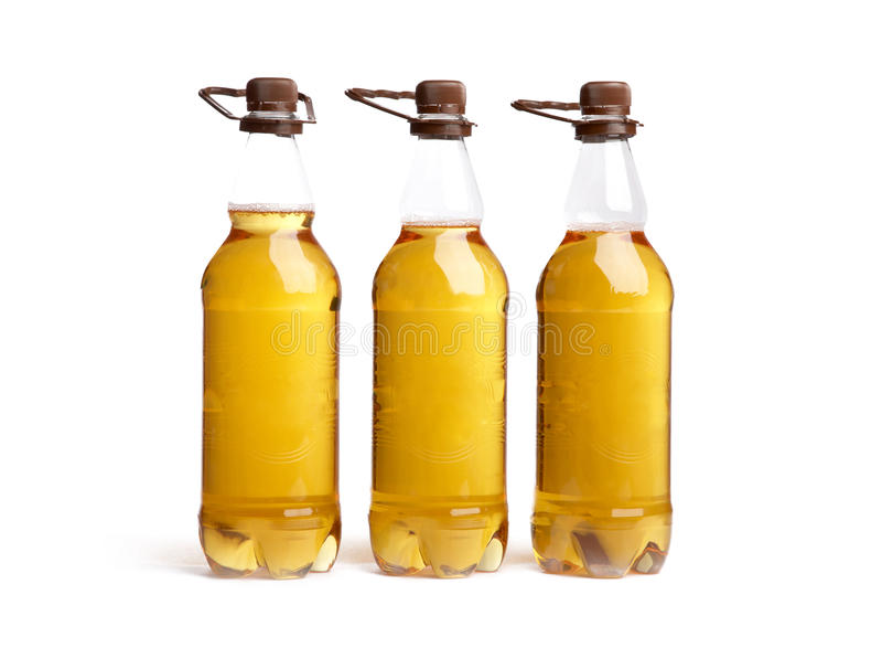 Three Bottles Of Light Beer Stock Image