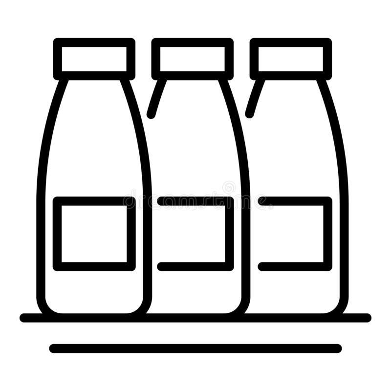 Three bottles of milk icon, outline style royalty free illustration