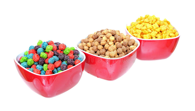 Three bowls of cereal royalty free stock image