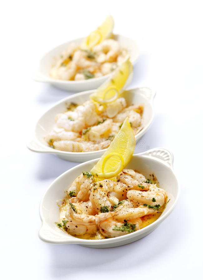 Free Three Bowls With Prawns And Garlic Butter Royalty Free Stock Image - 32109056