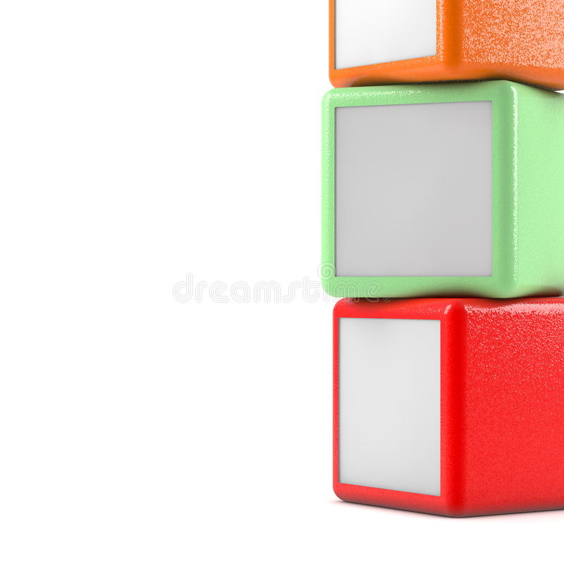 Three boxes. Square boxes on white background vector illustration