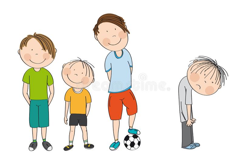 Three boys with ball, ready to play football / soccer, the fourth boy is standing with his back bent down looking unhappy. royalty free illustration