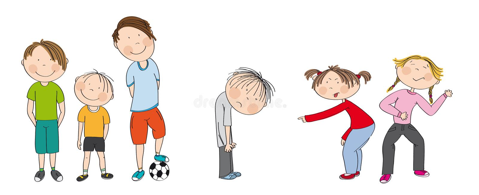 Three boys with ball ready to play football / soccer, two girls bullying sad boy, sneering, offending him. He wants to have friends. Original hand drawn royalty free illustration