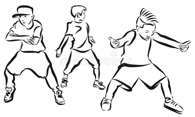 Three Boys, coloring Page, Hip Hop Choreography. Hand Drawn Sketched Artwork royalty free illustration
