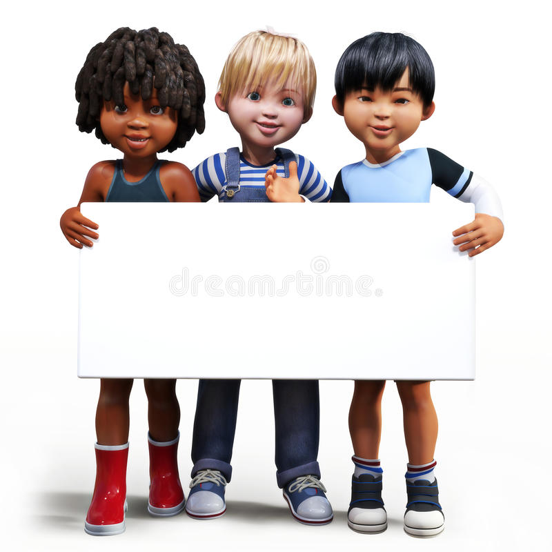 Three boys holding up a empty sign white board with room for your text or copy space vector illustration