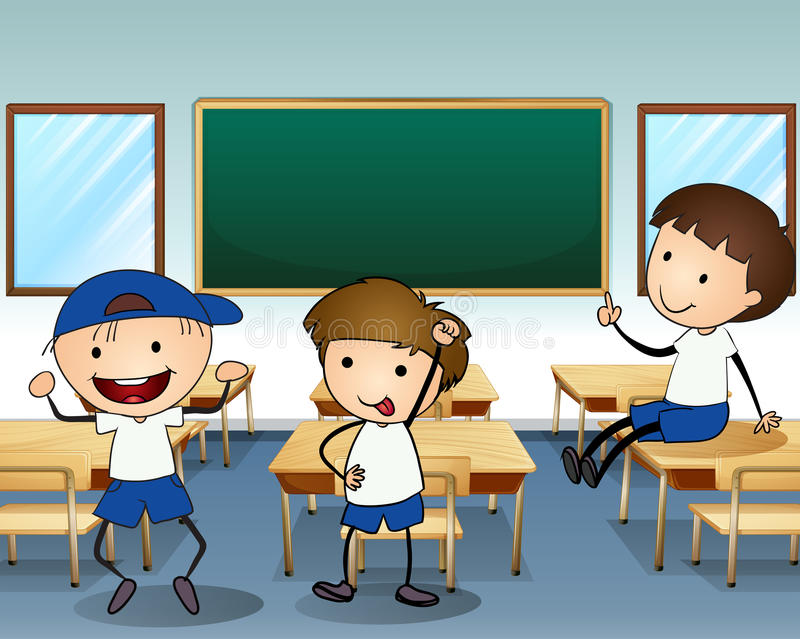 Three boys laughing inside the classroom. Illustration of the three boys laughing inside the classroom vector illustration