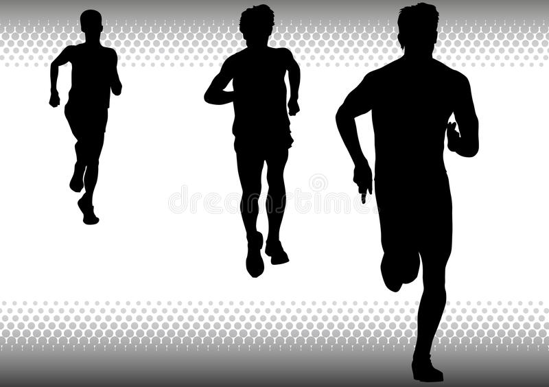 Three boys running. Vector drawing competitions in running. Silhouettes of three boys running stock illustration
