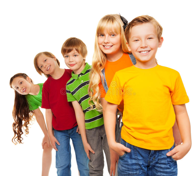 Three boys and two girls stock image