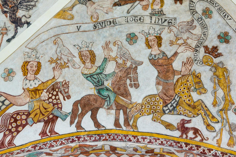 Three brave kings on horses meet the death stock photos