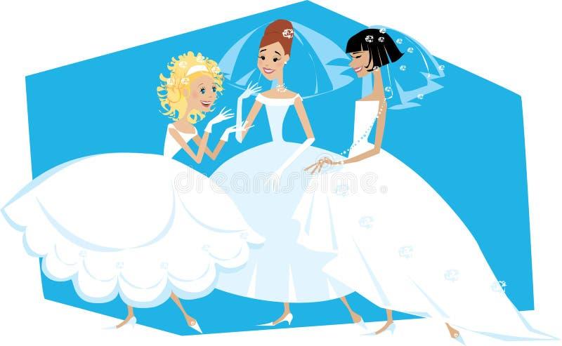 Three brides illustration. Illustration of three brides in wedding dresses vector illustration