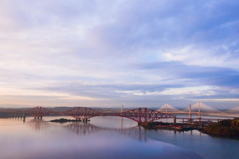 Three bridges, Forth railway Bridge, Forth Road Bridge and Queensferry Crossing, over Firth of Forth near Queensferry in Scotland stock image