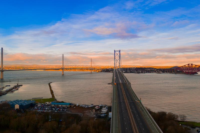 Three bridges, Forth railway Bridge, Forth Road Bridge and Queensferry Crossing, over Firth of Forth near Queensferry in Scotland stock photos