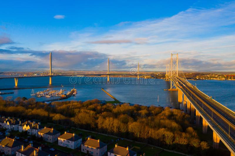 Three bridges, Forth railway Bridge, Forth Road Bridge and Queensferry Crossing, over Firth of Forth near Queensferry in Scotland stock photo