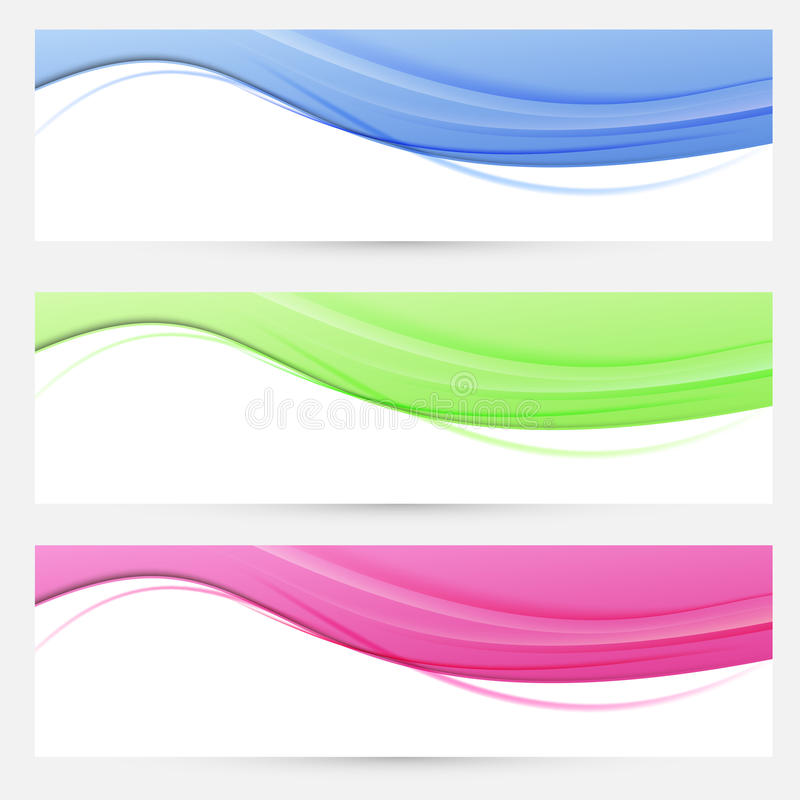 Three bright headers swoosh collection. Vector illustration vector illustration