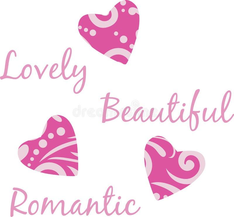 Three bright purple hearts stock photos