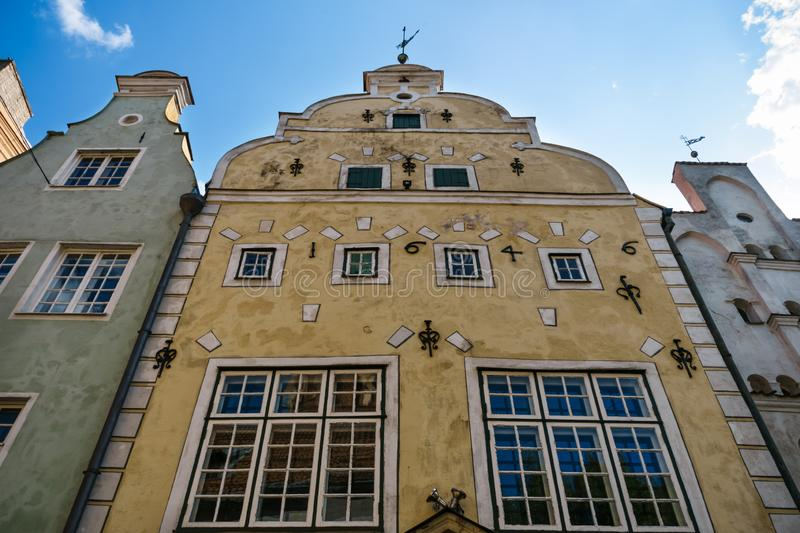 Three brothers Buildings, RENAISSANCE architecture in Old Town in Riga, Latvia, July, 2019 stock photos