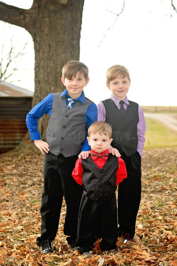 Three brothers dressed in suits portait stock photography