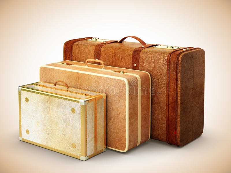 Three browh leather suitcase royalty free stock photo
