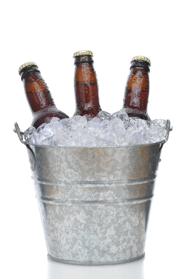 Three Brown Beer Bottles in Ice Bucket. With Condensation isolated on white vertical composition with reflection stock photo