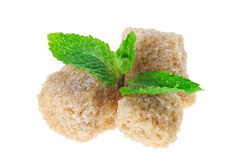 Download Three Brown Lump Cane Sugar Cubes With Peppermint Stock Photo - Image of dessert, cube: 20465894