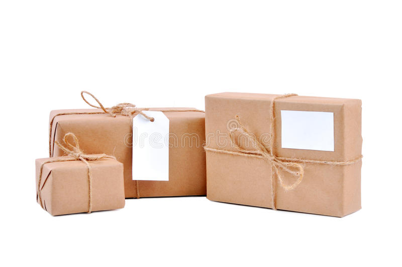 Download Three Brown Packages With Blank Labels Stock Photo - Image of post, cardboard: 26019798