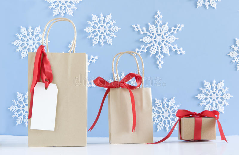 Three Brown Paper Bags Royalty Free Stock Photos
