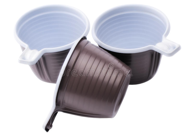 Three brown plastic disposable cups royalty free stock photography
