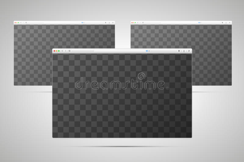 Three browsers windows with transparent place for screen. On light background royalty free illustration