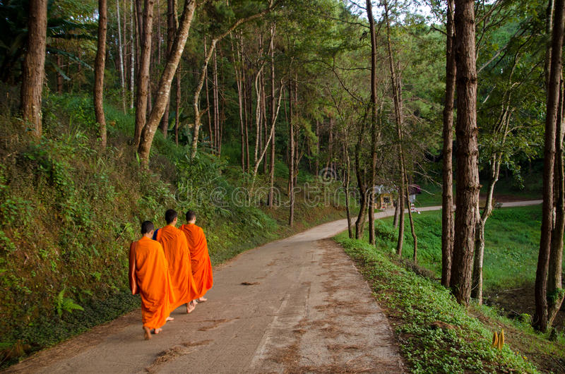 three buddhist monks royalty free stock photography
