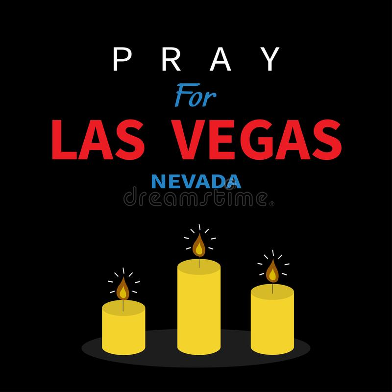 Three burning candles. Pray for Las Vegas Nevada text. Tribute to victims of terrorism attack mass shooting in LV October 1, 2017. Helping support concept stock illustration