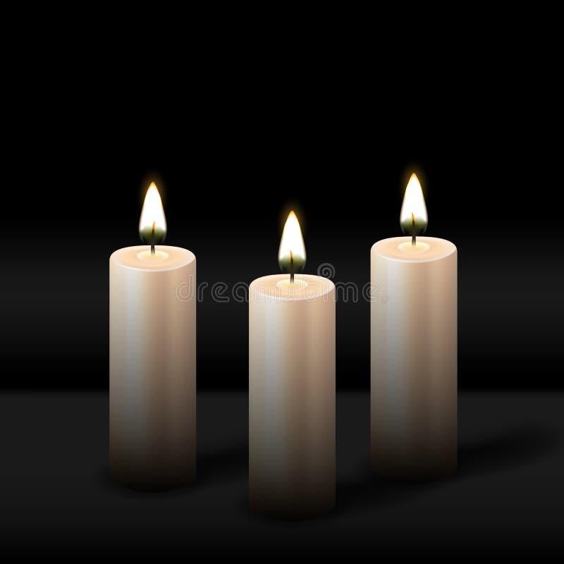Three burning realistic pillar candle on black background royalty free illustration