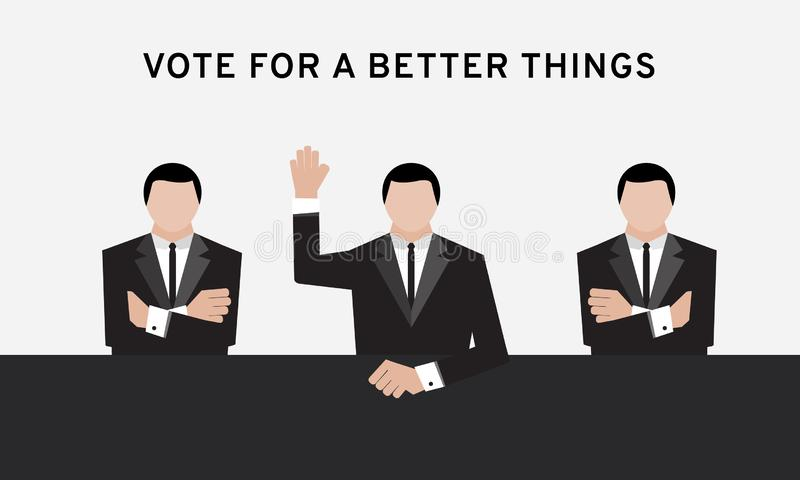 Three business man in suit hand up over head and cross arm for election and hand vote in conference room or meeting room to make d vector illustration