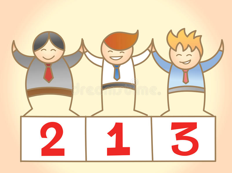Three business man winning together stock illustration