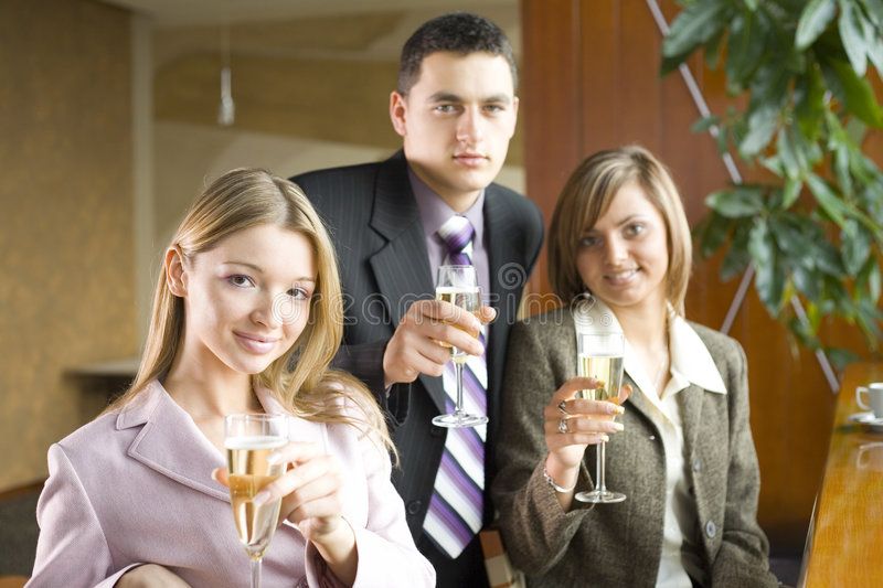 Three of Business People Making Toast stock photos