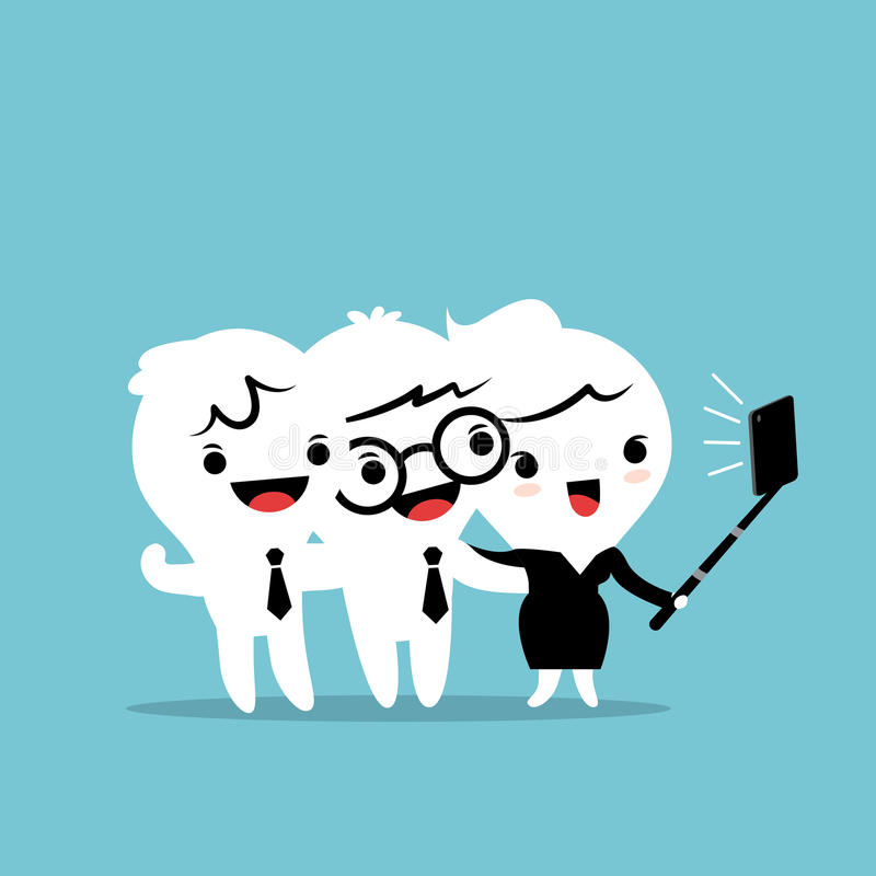 Three business people taking a selfie with smartphone stock illustration