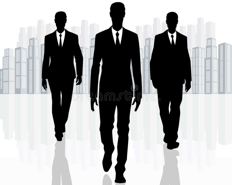 Three businessman goes vector illustration