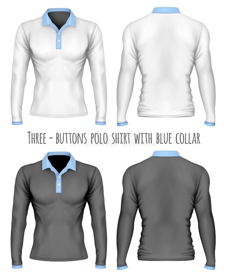 Three-button placket polo collar shirt vector illustration