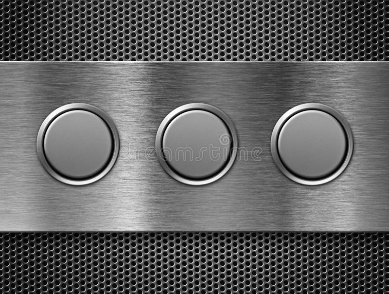 Three buttons metal toolbar. Three buttons toolbar over grate royalty free stock photography