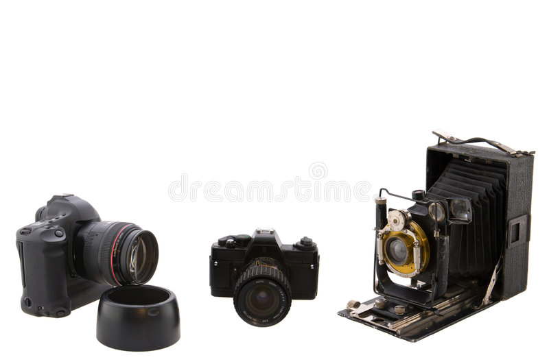 Three cameras stock photos