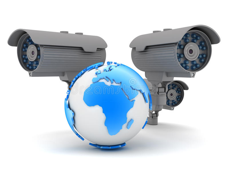 Three cameras and earth globe. On white background stock illustration